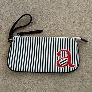 Fiona Lang Black and White Stripped Wristlet